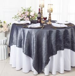 """85"""" Square Crushed Taffeta Table Overlays - Pewter / Charcoal 61560 (1pc/pk)"""