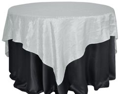 "85"" Square Crushed Taffeta Table Overlays - Platinum 61550 (1pc/pk"
