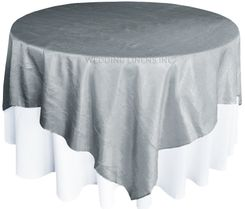 "85"" Square Crushed Taffeta Table Overlays - Silver 61540 (1pc/pk)"