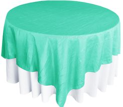 "85"" Square Crushed Taffeta Table Overlays - Tiff Blue / Aqua Blue 61518 (1pc/pk)"