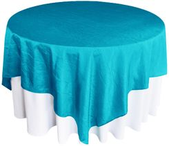 "85"" Square Crushed Taffeta Table Overlays - Turquoise 61585 (1pc/pk)"