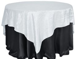 "85"" Square Crushed Taffeta Table Overlays - White 61501 (1pc/pk)"