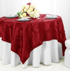"85"" Square Ribbon Taffeta Table Overlays - Apple Red 65508 (1pc/pk)"