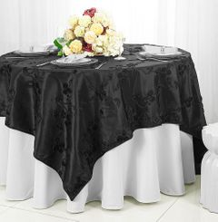 "85"" Square Ribbon Taffeta Table Overlays - Black 65539 (1pc/pk)"