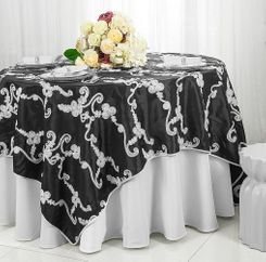 "85"" Square Ribbon Taffeta Table Overlays - Black / White 65579 (1pc/pk)"