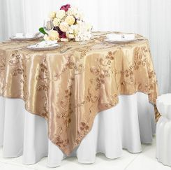"85"" Square Ribbon Taffeta Table Overlays - Champagne 65528 (1pc/pk)"