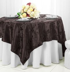 "85"" Square Ribbon Taffeta Table Overlays - Chocolate 65591 (1pc/pk)"