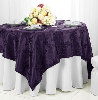 "85"" Square Ribbon Taffeta Table Overlays - Eggplant 65545 (1pc/pk)"