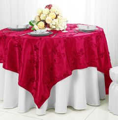 "85"" Square Ribbon Taffeta Table Overlays - Fuchsia 65509 (1pc/pk)"