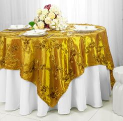 "85"" Square Ribbon Taffeta Table Overlays - Gold 65527 (1pc/pk)"