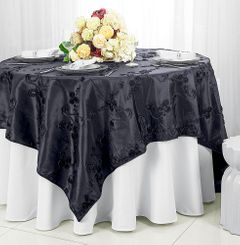 "85"" Square Ribbon Taffeta Table Overlays - Pewter / Charcoal 65560 (1pc/pk)"