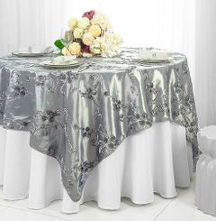 "85"" Square Ribbon Taffeta Table Overlays  - Silver 65540 (1pc/pk)"