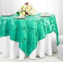 "85"" Square Ribbon Taffeta Table Overlays - Tiff Blue / Aqua Blue 65518 (1pc/pk)"