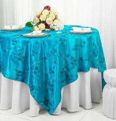 "85"" Square Ribbon Taffeta Table Overlays - Turquoise 65585 (1pc/pk)"