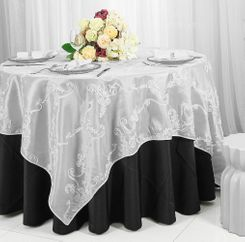 "85"" Square Ribbon Taffeta Table Overlays - White 65501 (1pc/pk)"