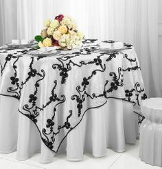 "85"" Square Ribbon Taffeta Table Overlays - White / Black 65569 (1pc/pk)"