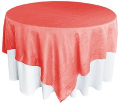 "85"" Square Crushed Taffeta Table Overlays - Coral 61506 (1pc/pk)"