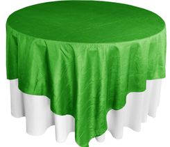 "85"" Square Crushed Taffeta Table Overlays - Emerald Green 61538 (1pc/pk)"
