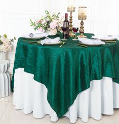 """85"""" Square Crushed Taffeta Table Overlays - Hunter Green / Holly Green 61519 (1pc/pk)"""