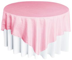 "85"" Square Crushed Taffeta Table Overlays - Pink 61505(1pc/pk)"