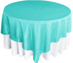 "85"" Square Crushed Taffeta Table Overlays - Pool Blue 61578 (1pc/pk)"