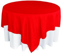 "85"" Square Crushed Taffeta Table Overlays - Red 61512 (1pc/pk)"
