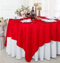 """85"""" Square Crushed Taffeta Table Overlays - Red 61512 (1pc/pk)"""