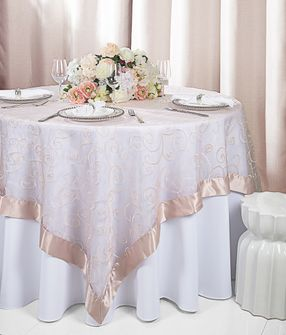 "85"" Square Embroidered Organza Table Overlay - Blush Pink 91115 (1pc/pk)"