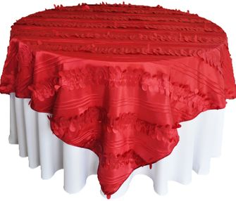 """85"""" Square Forest Taffeta Table Overlays - Apple Red 67508(1pc/pk)"""