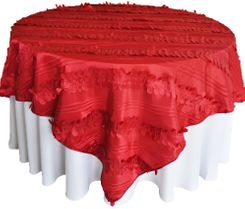 "85"" Square Forest Taffeta Table Overlays - Apple Red 67508(1pc/pk)"