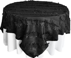 "85"" Square Forest Taffeta Table Overlays - Black 67539(1pc/pk)"