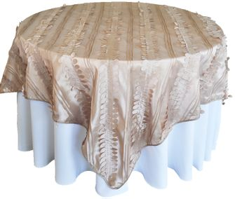 """85"""" Square Forest Taffeta Table Overlays - Champagne 67528(1pc/pk)"""