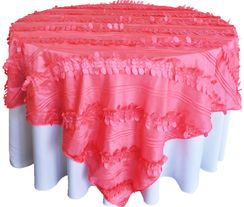 "85"" Square Forest Taffeta Table Overlays - Coral 67506(1pc/pk)"