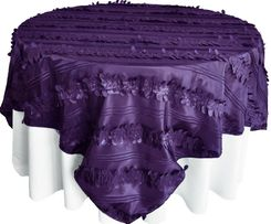 "85"" Square Forest Taffeta Table Overlays - Eggplant 67545(1pc/pk)"