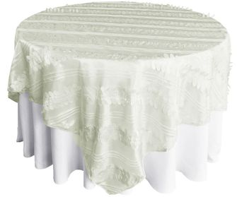 """85"""" Square Forest Taffeta Table Overlays - Ivory 67502(1pc/pk)"""