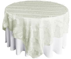 "85"" Square Forest Taffeta Table Overlays - Ivory 67502(1pc/pk)"