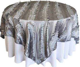 """85"""" Square Forest Taffeta Table Overlays - Silver 67540(1pc/pk)"""