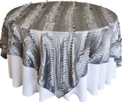"85"" Square Forest Taffeta Table Overlays - Silver 67540(1pc/pk)"