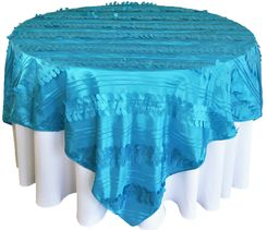 "85"" Square Forest Taffeta Table Overlays - Turquoise 67585(1pc/pk)"