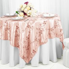 "85"" Square Ribbon Taffeta Table Overlays - Blush Pink 65515(1pc/pk)"