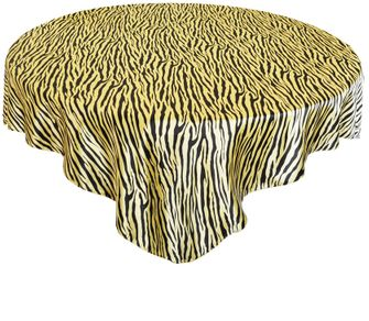 "85"" Square Zebra Print Satin Table Overlays - Canary Yellow / Black 81316 (1pc/pk)"