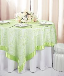 "85"" Square Embroidered Organza Table Overlay - Apple Green 91137 (1pc/pk)"