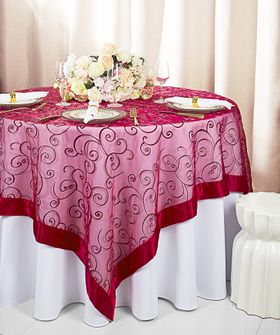 """85"""" Square Embroidered Organza Table Overlay - Apple Red 91108 (1pc/pk)"""
