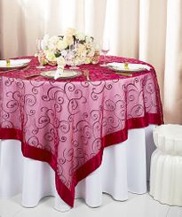 "85"" Square Embroidered Organza Table Overlay - Apple Red 91108 (1pc/pk)"