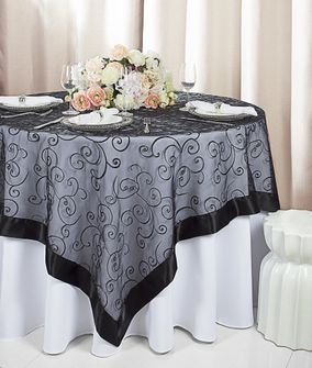 "85"" Square Embroidered Organza Table Overlay - Black 91139 (1pc/pk)"