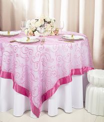 "85"" Square Embroidered Organza Table Overlay - Bubble Gum 91135 (1pc/pk)"