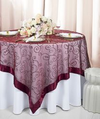 "85"" Square Embroidered Organza Table Overlay - Burgundy 91110 (1pc/pk)"