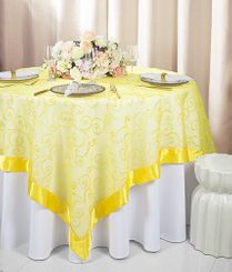 "85"" Square Embroidered Organza Table Overlay -  Canary Yellow 91116 (1pc/pk)"