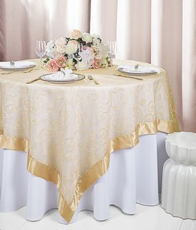 """85"""" Square Embroidered Organza Table Overlay - Champagne 91128 (1pc/pk)"""