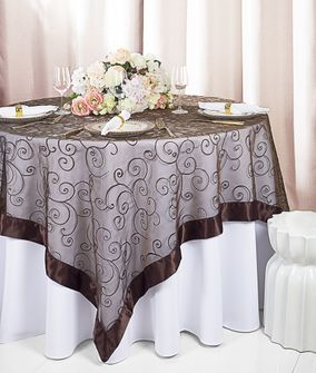 """85"""" Square Embroidered Organza Table Overlay - Chocolate 91191 (1pc/pk)"""
